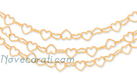 Yellow gold three strands heart link chain