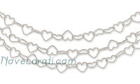 White gold three strands heart link chain