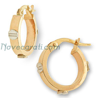 Yellow gold 10 mm hoop earrings with white gold screw designs