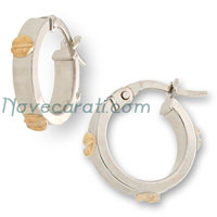 White gold hoop earrings with yellow gold screw designs