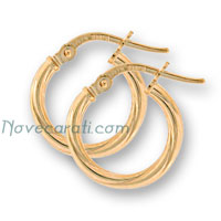Yellow gold 15 x 2 mm twisted tube earrings