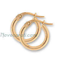 Yellow gold 10 x 2 mm round tube earrings