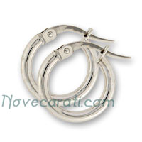 White gold 10 x 2 mm round tube earrings