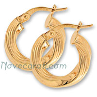 Yellow gold 10 mm twisted hoop earrings