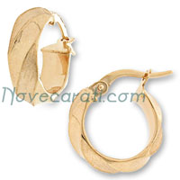 Yellow gold 10 x 5 mm round tube earrings with alternated satin finishing