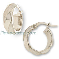 White gold 10 x 5 mm round tube earrings with alternated satin finishing