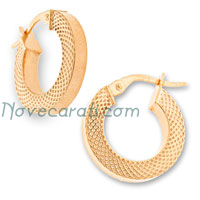 Yellow gold 10 x 3 mm square tube earrings with mottled design